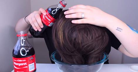 She Pours 2 Bottles Of Coca-Cola All Over Her Hair. The Finished Look! Perfection!