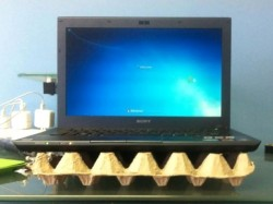 egg tray laptop cooling stand
