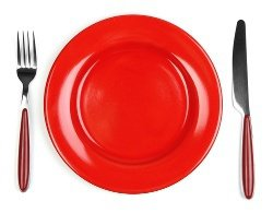 Red Plate and Silverware