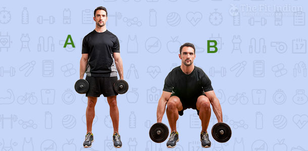 Dumbbell-Squat-and-knee-pull